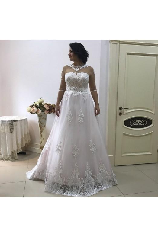 Пудровое свадебное платье S019